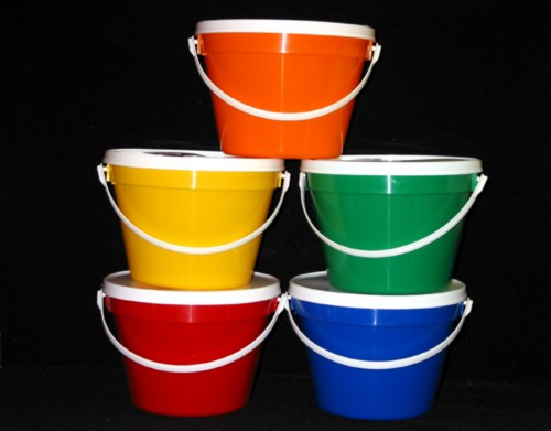 Colored Plastic 1 2 Gallon Bucket With White Handle Lid